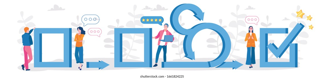Scrum business concept, Agile illustration with business team. Vector illustration for web banner, infographics, mobile.