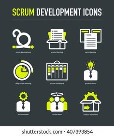 Scrum development methodology icons on dark grey background