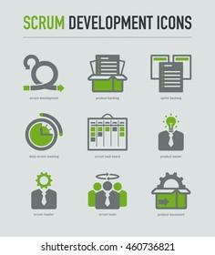 Scrum development methodology icons on light grey background
