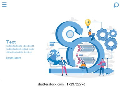 Scrum Framework, Team discussing tasks at Kanban board. Vector illustration for web banner, infographics, mobile. Scrum meeting, conversation, working on laptop.