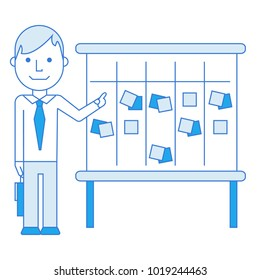 Scrum master illustration in blue tones who is pointing on kanban board with sticky notes for team work and visual management. Vector flat illustration, isolated on white.