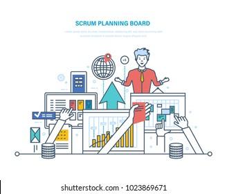 Scrum planning board with tasks. Conference, working planning. Discussion, risk assessment, teamwork. Development planning iterations. Scrum methodology task board. Illustration thin line design.