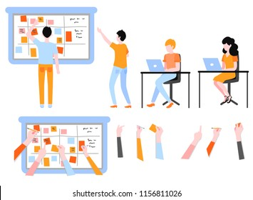 Scrum planning of teamwork on software development set isolated on white background - agile board with written tasks and flat characters working with laptop in vector illustration.
