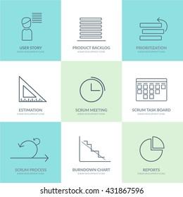 Scrum Software Development outline web icon set for agile, scrum, kanban IT teams