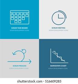 Scrum Software Development outline web icon set for agile, scrum, kanban IT teams for website, banners, flyers. Contains such icons as scrum task board, scrum meeting, scrum process, burndown chart