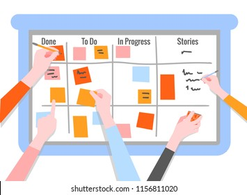 Scrum task board concept with human hands holding colorful sticky papers and markers. Board for agile teamwork of software development in flat isolated vector illustration.