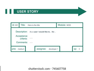 Scrum user story card concept summary. Vector illustration.