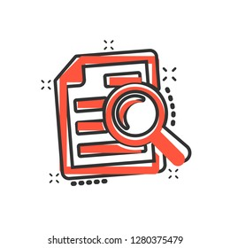 Scrutiny document plan icon in comic style. Review statement vector cartoon illustration pictogram.