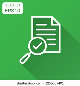 Scrutiny document plan icon in flat style. Review statement vector illustration with long shadow. Document with magnifier loupe business concept.