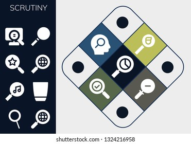 scrutiny icon set. 13 filled scrutiny icons.  Collection Of - Search, Zoom, Glass, Loupe, Zoom out