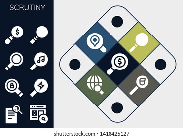 scrutiny icon set. 13 filled scrutiny icons.  Collection Of - Search, Magnifying glass, Loupe