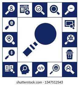 scrutiny icon set. 17 filled scrutiny icons.  Collection Of - Search, Loupe, Magnifying glass, Glass, Zoom out