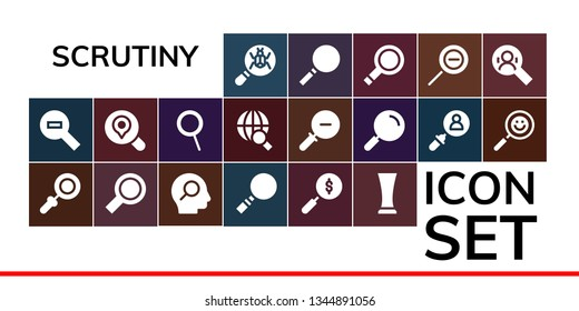 scrutiny icon set. 19 filled scrutiny icons.  Simple modern icons about  - Loupe, Zoom out, Magnifying glass, Search, Glass, Zoom