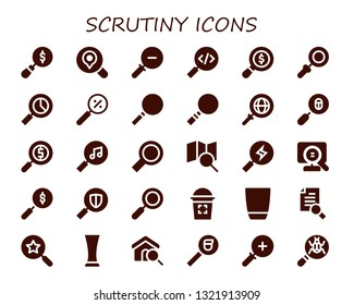 scrutiny icon set. 30 filled scrutiny icons.  Collection Of - Magnifying glass, Search, Zoom out, Loupe, Zoom, Glass, Research, Zoom in