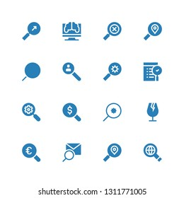 scrutiny icon set. Collection of 16 filled scrutiny icons included Searching, Search, Magnifying glass, Glass, Research