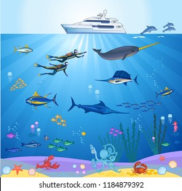scuba diver and coral reef with fishes on a blue sea
