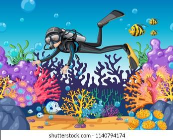 Scuba diver diving in beautiful reef illustration