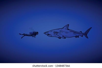 A scuba diver face off with a great white shark in deep sea. Hand drawn vector illustration.