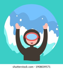 Scuba diver happy person in snorkeling mask and swimming suit. Extreme diving sport. Underwater man diver, looks out of the water and waves his hands. Simple vector illustration on blue background
