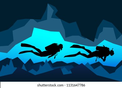 scuba divers rescue team dive underwater in the deep cave, vector