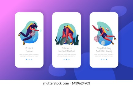 Scuba Divers Swimming in Ocean Collecting Floating Sea Garbage in Polluted Water Mobile App Page Onboard Screen Set. Planet Pollution Concept for Website or Web Page, Cartoon Flat Vector Illustration