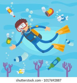 Scuba divers swimming on coral reefs and fish. Vector illustration of pollution at sea