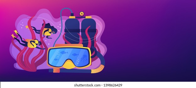 Scuba divers swimming under water and mask with snorkel, tiny people. Diving school, best commercial diving, all levels diver program concept. Header or footer banner template with copy space.