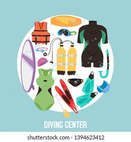 Scuba diving center banner vector illustration. Diver wetsuit, scuba mask, snorkel, fins, oxygen cylinders, lifebuoy, flippers icons. Underwater activity diving equipment and accessories.