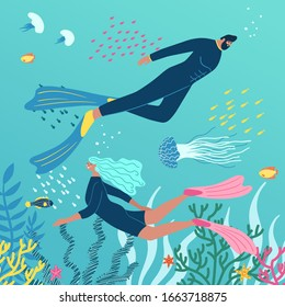 Scuba diving club vector illustration with  underwater world on the background. People swimming in ocean. Woman and man in a wetsuit or swimsuit snorkeling and exploring sea bottom.