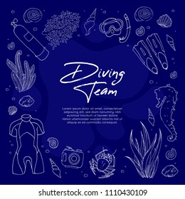 Scuba diving eqiupment card template. Under sea doodle illustration. Set of outline white icons: diving suit, mask, flippers, underwater camera, seaweed, coral, seahorse, crab on blue background.