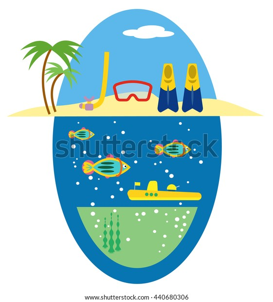 scuba diving equipment set vector illustration with mask, snorkel, fish, submarine, island beach and flipper, for tourism, leisure, extreme sport, recreation design