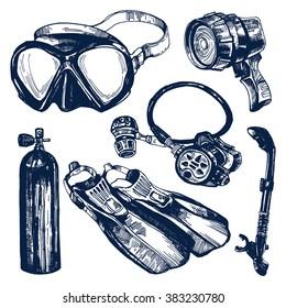 Scuba Diving Equipment Sketch Set. Including mask, snorkel, air tank, fins, regulator and dive light