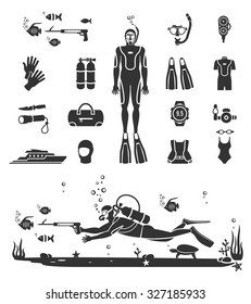 Scuba diving equipment. Sport underwater, water sea, glove and flashlight, mask and snorkel, vector illustration