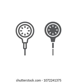 Scuba diving gauge line and glyph icon, diving and underwater, measure sign vector graphics, a linear pattern on a white background, eps 10.