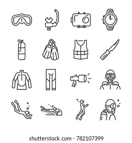 Scuba diving icon set. Included the icons as underwater, scuba diver, mask, fins, regulator, wetsuit and more.