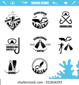 Scuba Diving icons with corals, diver, mask and tube, flippers and fish. Vector logotype or badge for Diving Center. Scuba diver silhouette.