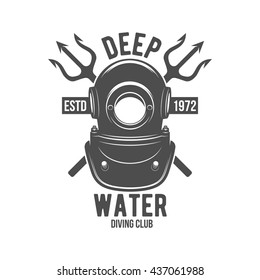 Scuba diving label. Underwater swimming logo. Sea dive, spear fishing, vector illustration. Diving emblems and designed elements