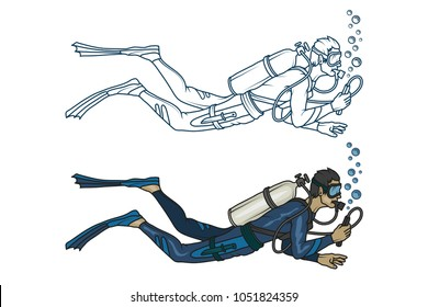 Scuba diving logo. Diver with scuba . Scuba-diving. Vector diver character.