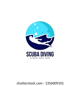 Scuba diving logo template vector. Diver logo concept