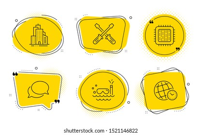 Scuba diving, Screwdriverl and Time zone signs. Chat bubbles. Cpu processor, Messenger and Skyscraper buildings line icons set. Computer component, Speech bubble, Town architecture. Vector