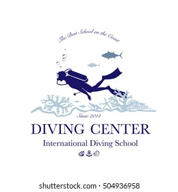 Scuba diving and snorkeling center or school logo. Scuba diver swimming underwater over beautiful corals. Vector Illustration