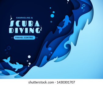 Scuba diving, snorkeling and marine life concept in style paper art craft. Origami of cut out layers cardboard of underwater seascape: undersea world and ocean wildlife: reef, water waves and dolphins