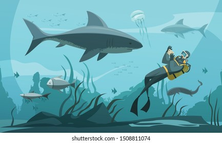 Scuba diving underwater adventures composition with person in wetsuit snorkel fins photographing shark comics style vector illustration