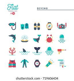 Scuba diving, underwater animals, equipment, certificate and more, flat icons set, vector illustration