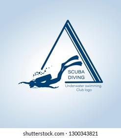 SCUBA DIVING. Underwater swimming. Emblem, club logo. Silhouette of a diver. Sport diving concept.
