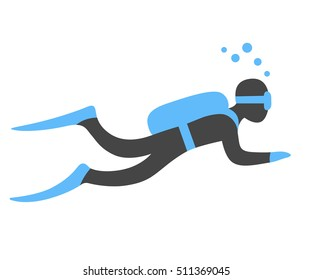 Scuba diving vector illustration. Swimming diver isolated sign in flat cartoon style.