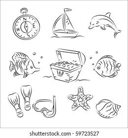 Scuba Diving Vector Sketch Set