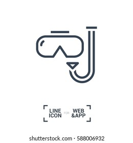 Scuba mask isolated minimal single flat linear icon for application and info-graphic. Diving line vector icon for websites and mobile minimalistic flat design.