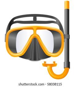 scuba mask and snorkel - vector illustration