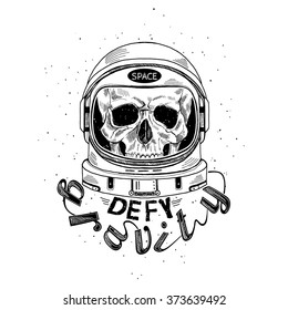 scull in astronaut helmet, hand drawn art print, t-shirt design